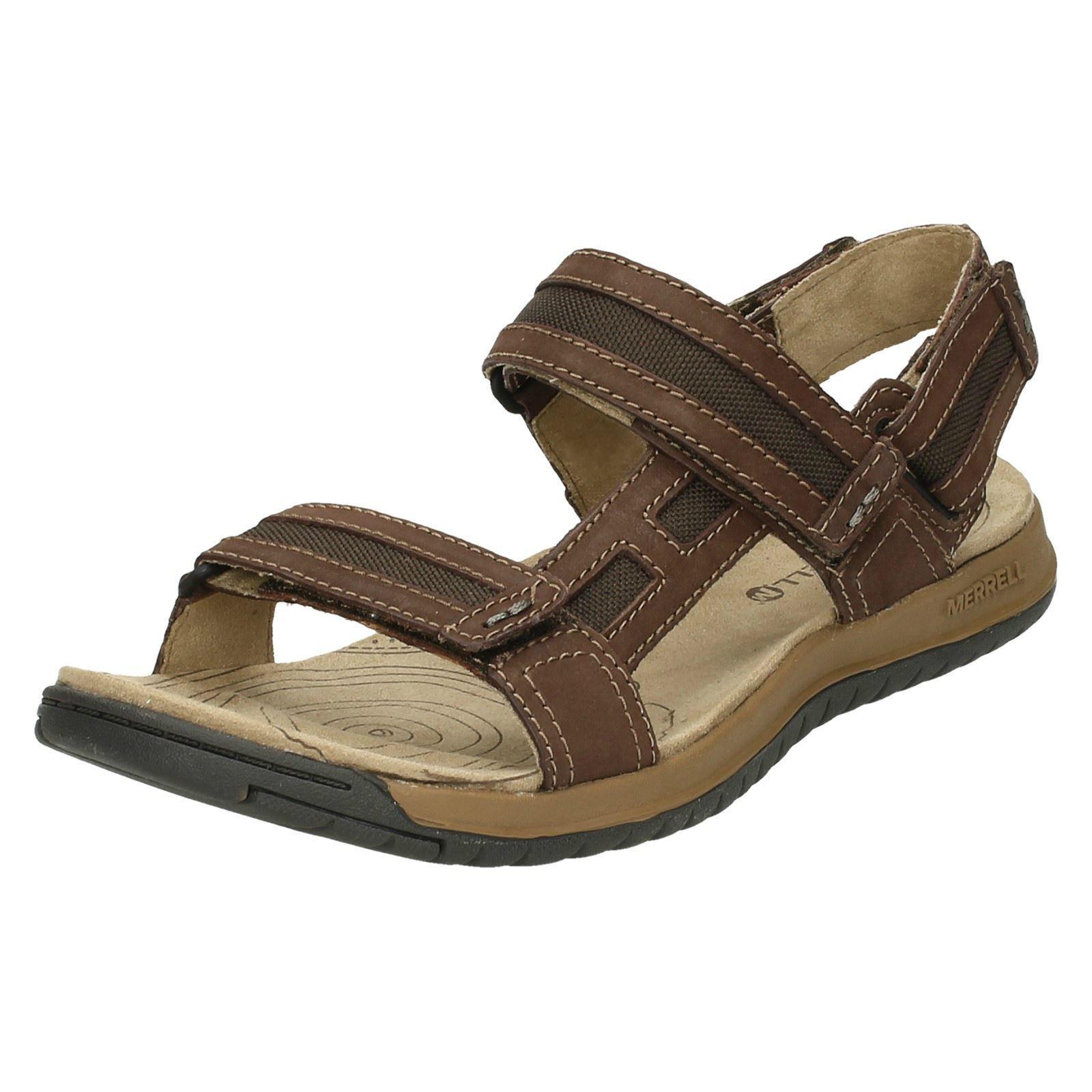 Mens Merrell Strapped Hook & Loop Leather Sandals Traveler Tilt Convertible