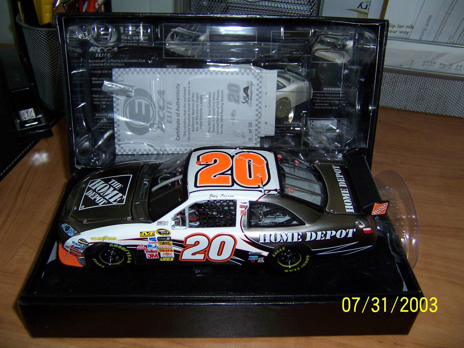 2009  Elite 1 24 Joey Logano Home Depot Brushed Metal Diecast  of 50