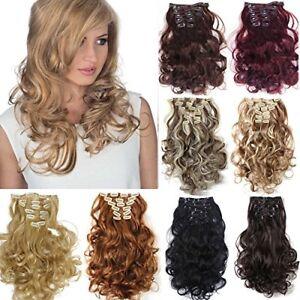 Extensions-a-clip-cheveux-naturel-8-Pcs-boucles-Wavy-Clip-Hair-Extensions-Double