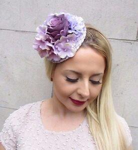 Lilac mauve light purple hydrangea flower fascinator hat hair clip image is loading lilac mauve light purple hydrangea flower fascinator hat solutioingenieria Gallery