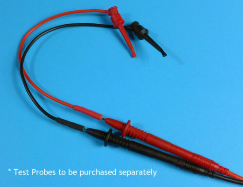 20cm Silicone Leads with 2mm Gold Plated Sockets and Mini Grabber Hooks Pair