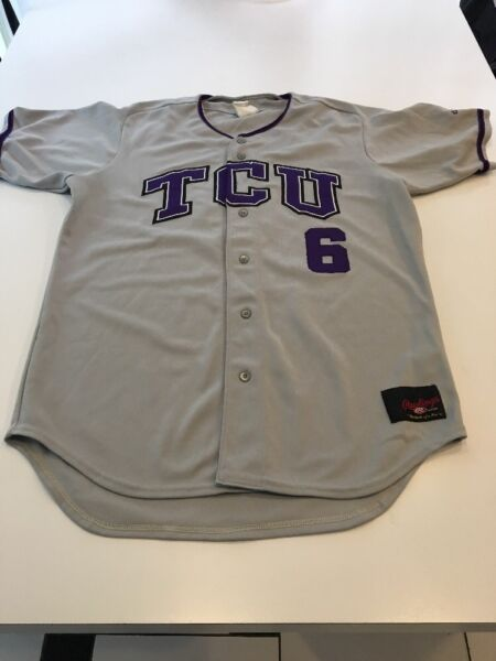 Game Worn Used Rawlings TCU Horned Frogs Baseball Jersey  6 Size 44 0e3d8a93a
