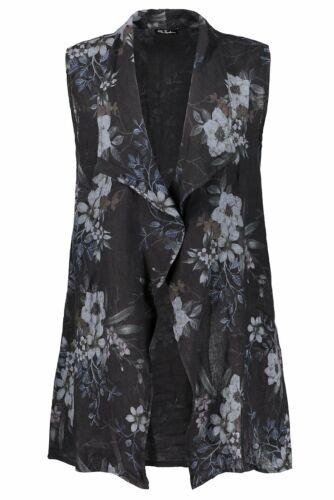 Ulla Popken lino chaleco con flores presión negro nuevo