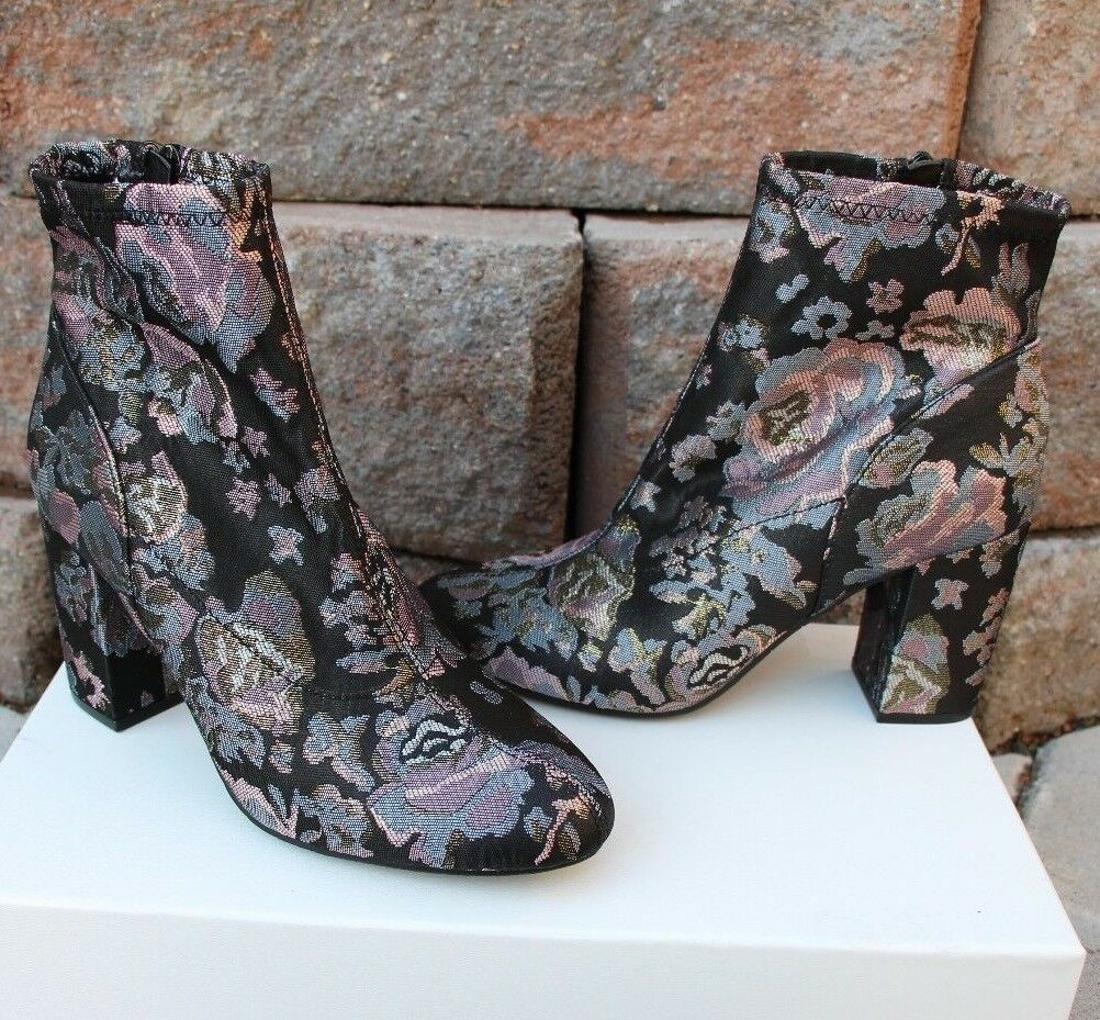 Kenneth Cole Reaction Fabric Booties rose metallic floral block heel Sz 8