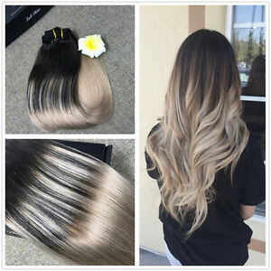 Ombre balayage remy hair ash blonde clip in human hair extensions image is loading ombre balayage remy hair ash blonde clip in pmusecretfo Images