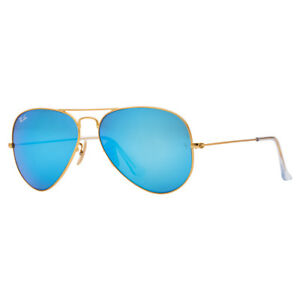 Ray-Ban Aviator RB3025 112/17 58mm Blue Flash Lens Gold Frame Sunglasses
