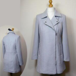 M mezcla 8 longitud s 3 Tamaño 4 ~ desde 100 de de gris € lana de abrigo biker plata YYrvxO