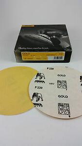 100-x-MIRKA-Gold-Schleifscheiben-sk-selbstklebend-P-220-150-mm-ungelocht