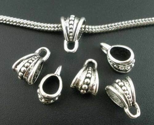 10PC EUROPEAN BAIL/_Large Hole Hook Craft DIY Bead Charm Pendant Silver/_15x9mm