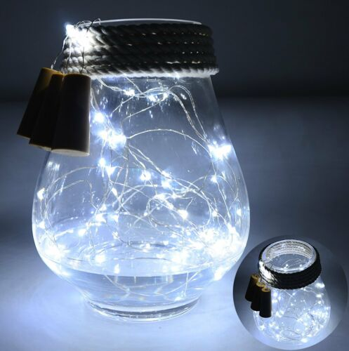 15-50 LEDs Cork Shaped LED Copper Wire String Lights Wine Bottle Xmas Decor ju