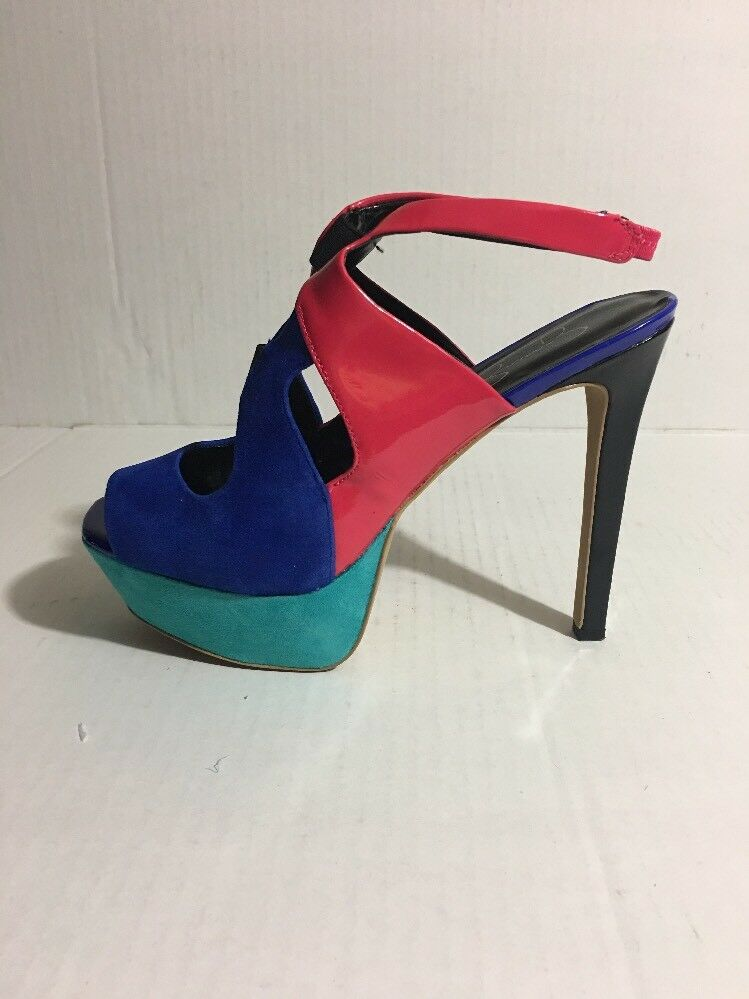 Pre-Owned Jessica Jessica Pre-Owned Simpson Bendie Blue, Pink,Teal, Black Pumps Size 9.5M 1934bc