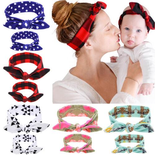 2Stk Mama Baby Damen Kinder Stirnband Haarband Haarschmuck Bow Kopfschmuck Mode