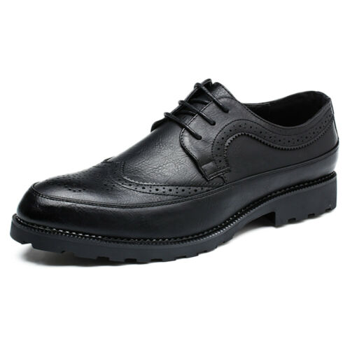 Men/'s Oxfords Brogues Leather Formal Casual Dress Lace up Wing Tip Wedding Shoes
