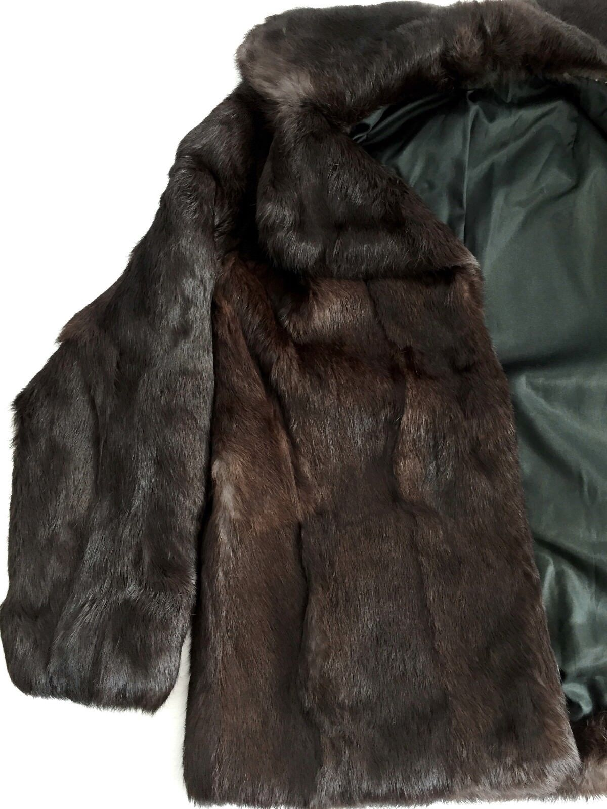 Vintage Women Real Genuine Fur Coat Coat Coat (Rabbit) Echt Pelz Immaculate Brown 8 M 10 L 45e169