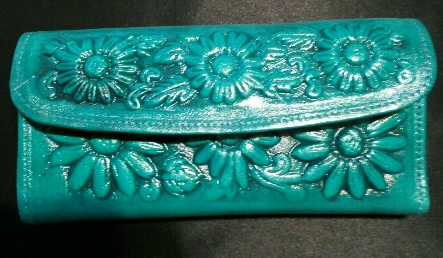 Mexican hand tooled 100% leather trifold wallet/clutch, aqua blue with roses