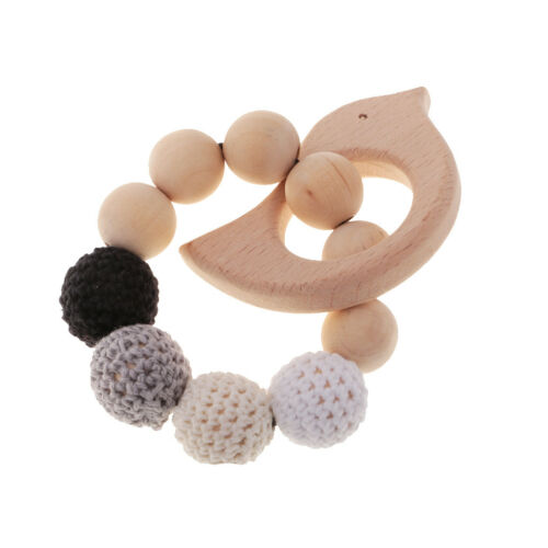 Bird Bracelet Baby Wood Teether Organic Wooden Nursing Toy Crochet Beads