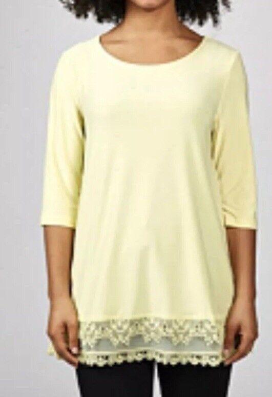 B268 4 Sleeve Hi Lo Hem Tunic with Crochet Lace Detail by Nina Leonard RRP