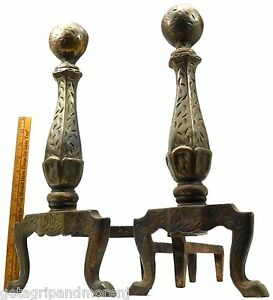 """Antique FIREPLACE ANDIRONS Large CAST IRON FIREDOGS w/ BRONZE-LOOK Marked """"200"""" 