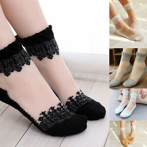 5 Paar Damen Füsslinge Ultradünne Ankle Kurz Spitze Mesh Socken Söckchen