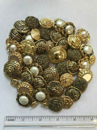 Buttons Lot Qty 50 Gold Variety Assortment Craft Scrapbook Card Making Sewing