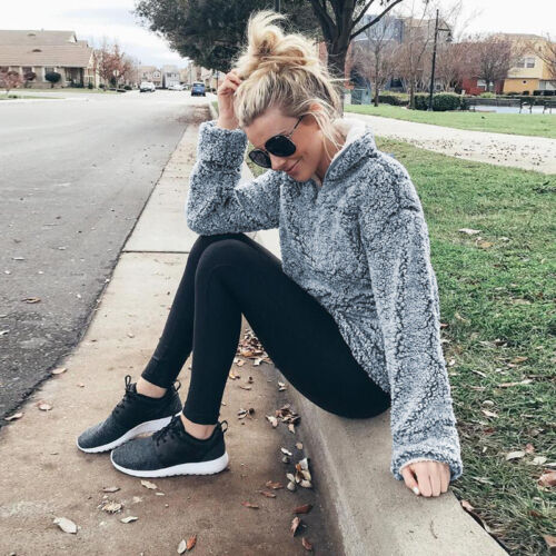 Damen Teddy Fleece Sweatshirt Stehkragen Pullover Pulli Winter Jacke Jemper Top