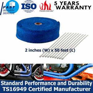 2 Roll x 50FT Blue Exhaust Turbo Header Manifold Thermal Heat Wrapw//20 Tie Kit