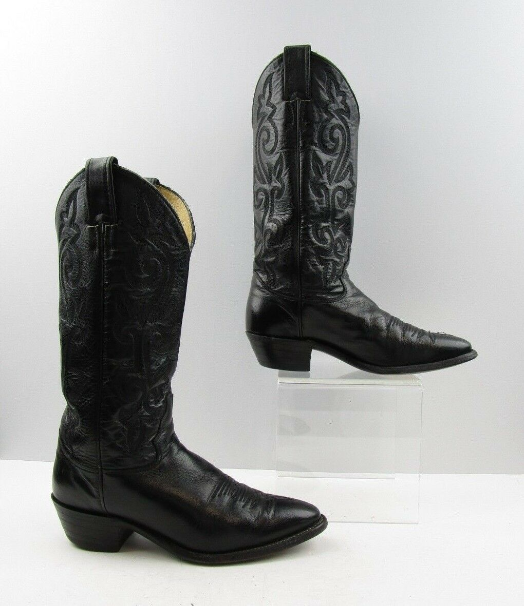 Ladies Justin Black Leather Cowboy Western Boots Size  6.5 C WIDE