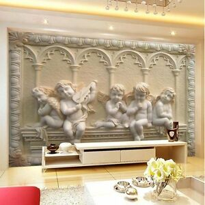 3d Modern Luxury Embossed Angel Wallpaper Mural Roll Bedroom Wall Tv