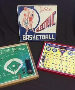 LOT-of-2-Vtg-Jim-Prentice-Electric-Baseball-amp-Basketball-Game-54-X-E120-mancave