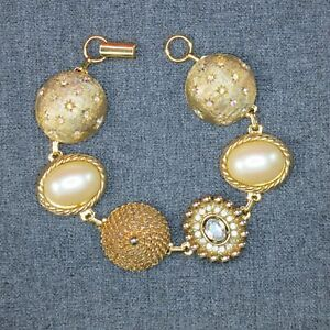 Gold-Pearl-and-Crystal-Bracelet-Handmade-UpCycled-from-Earrings-One-of-A-Kind