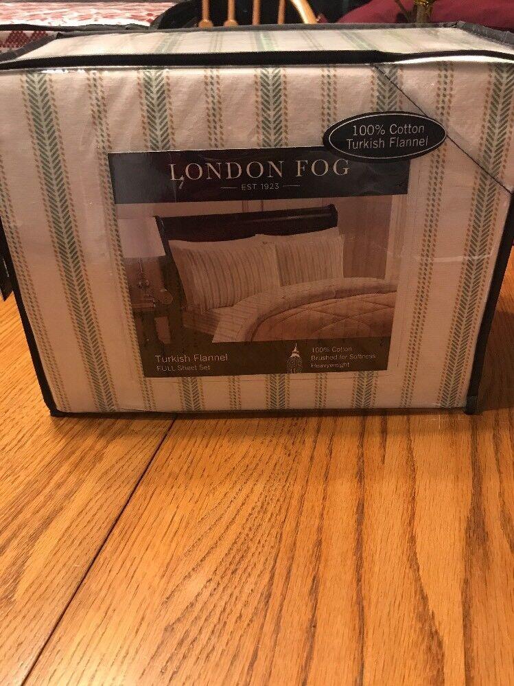 NEW LONDON FOG Turkish flannel full sheet set 100% cotton Ships N 24h