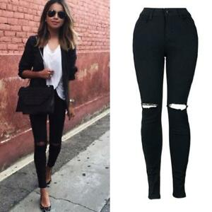 bc0475a47d14 Women Girl Cool Ripped Knee Cut Skinny Long Black Jean Pant Slim ...