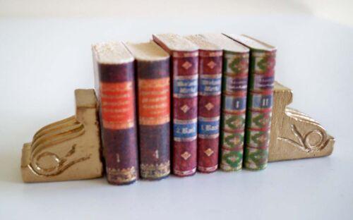 1:12-2 belles dorée miniature serre-livres 2
