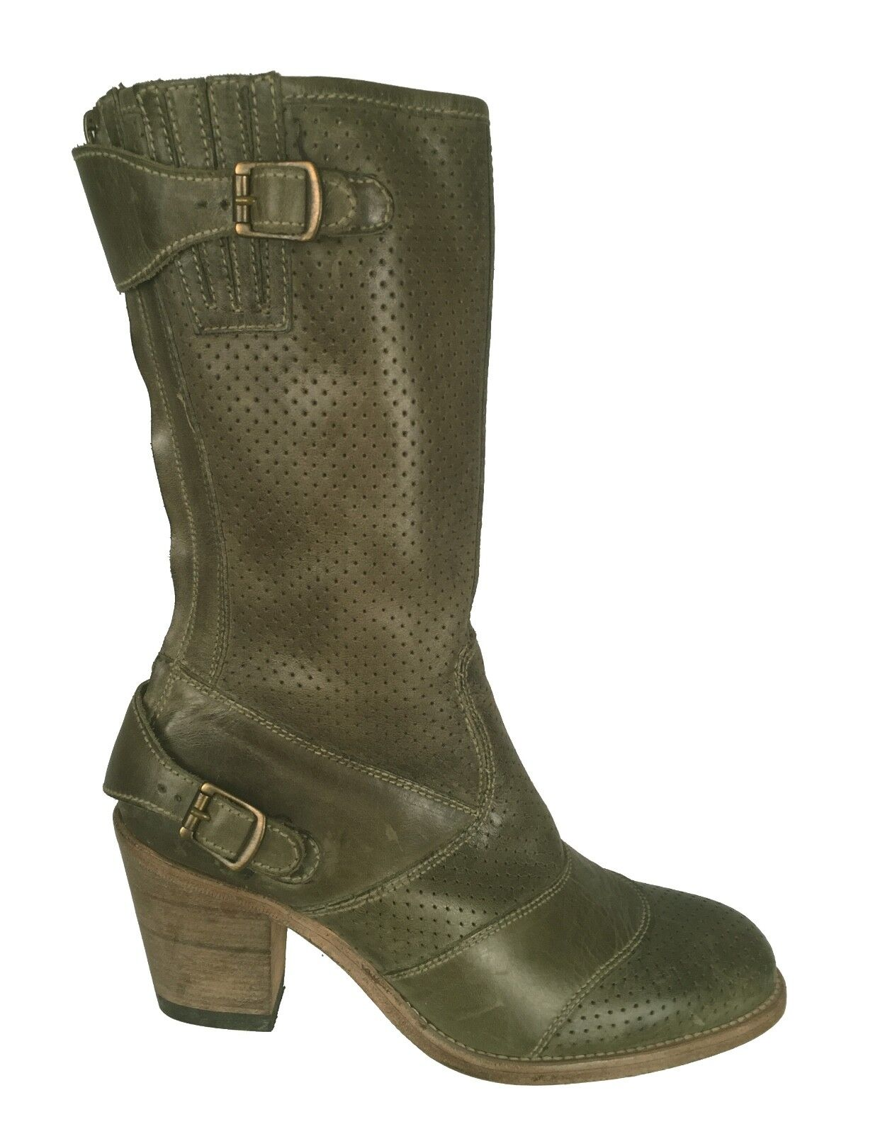 Belstaff Distressed Green Roadmaster Boots Shoes Leather Sole EU Size 39