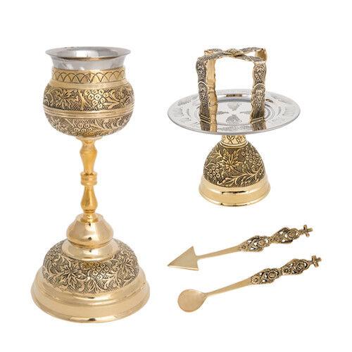 Greek Orthodox Communion Chalice Set 5 pcs Small Travel Mass Kit 8.5  22cm
