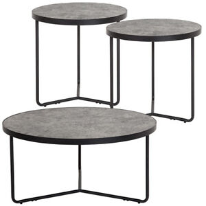 Details About 3 Piece Round Coffee And End Table Set In Concrete Finish