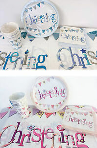 Image is loading Baby-Christening-Tableware-Party-Pack-Boy-Girl-Plates-  sc 1 st  eBay & Baby Christening Tableware Party Pack Boy/Girl- Plates Cups ...