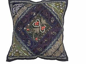 Black Kundan Sari Throw Pillow Cover Eclectic Indian Decorative