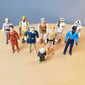 Lot-of-10-Vintage-1980-Star-Wars-3-75-034-Action-Figures-Luke-Hon-Solo-Leia-Yoda