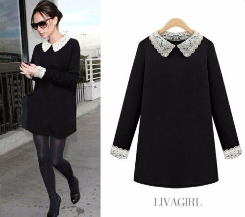 Women Long Sleeve Lace Neck Black Dress Base Skirt Casual Dress Fashion