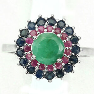 DELUXE-ROUND-7mm-GREEN-EMERALD-SAPPHIRE-RUBY-STERLING-925-SILVER-FLOWER-RING-9