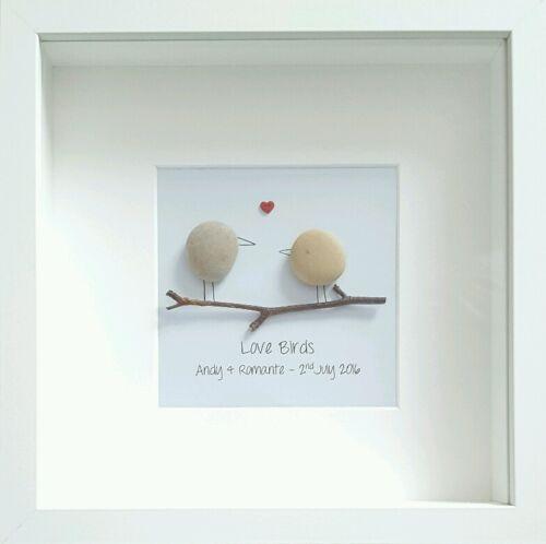 Cuadro Personalizado Navidad Regalo Guijarro arte enmarcado amor Aves De Aniversario
