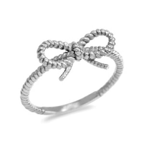 NWT 925 Sterling Silver Ribbon Bow Roped Ring All Size 5 6 7 8 9 10 11 12 13 14