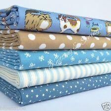 Bundle 5 Fat Quarters Blue & Beige Cats 100% cotton 20 x 22 Inches