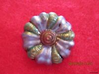 "Czech Glass Vintage Handpainted Flower on Black Button#01-.832""=21.15mm"
