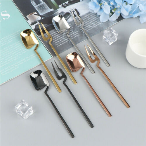 2pcs//set Coffee Spoon Dessert Fork Long Handle Wall Hanging Spoon Kitchen T BE