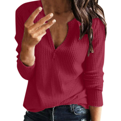 Women/'s Plus Size V Neck Long Sleeve Knitted Tops Pullover Jumper Outwear Blouse