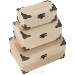 schatzkiste holzkiste mit beschl gen holz box schatztruhe holztruhe kiste deckel ebay. Black Bedroom Furniture Sets. Home Design Ideas