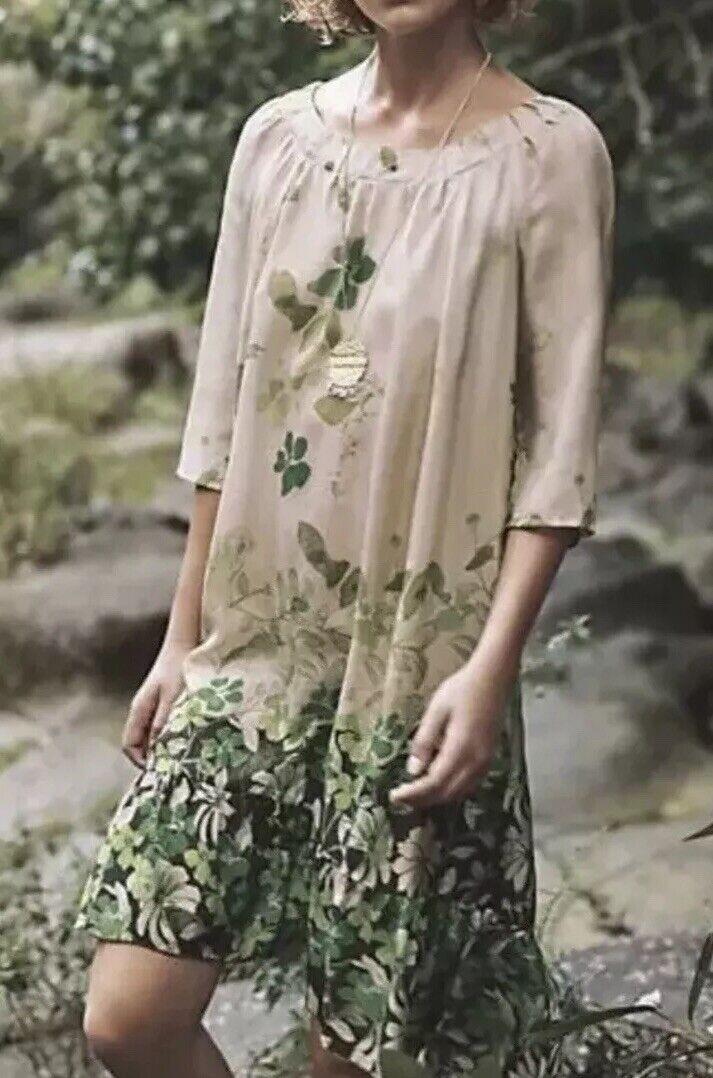 4. Anthropologie Rainforest Silk Dress Vanessa Virginia Grün Floral  NWT