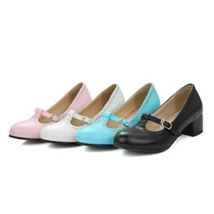 Womens-Round-Toe-Mary-Janes-Mid-Block-Heel-Dress-Casual-Party-Lolita-Shoes-Pumps